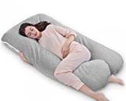 QUEEN ROSE Almohada con forma de U, Almohada de embarazo y maternidad con funda extraíble y lavable (150 x 80 cm, Jersey, Gris)