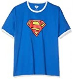 DC Comics Superman Logo Camiseta, Royal/White, L para Hombre