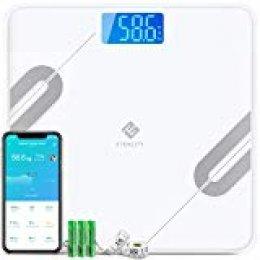 Etekcity Báscula Grasa Corporal Báscula de Baño Bluetooth Analizar 12 Funciones, Monitores de Composición con Superficie Grande de Pesaje y Medición de Alta Precisión, Android y iOS, ESF37