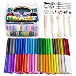 Arcilla de polímero de, arcilla de modelado de colores, arcilla de artesanía herramientas de modelado y accesorios en caja de almacenamiento, el mejor regalo para niños