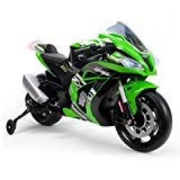 INJUSA- Moto ZX10 Ninja Kawasaki de 12 V, licenciada con luces y sonidos, recomendada a partir de los 3 años, Color verde (6495)