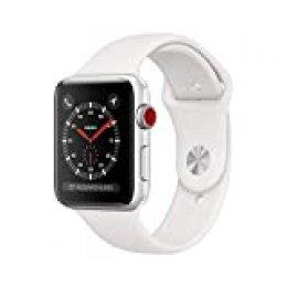 AppleWatchSeries3 (GPS+Cellular) concaja de 42mm de aluminio enplata ycorrea deportiva, Blanca