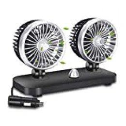 Ventilador de Refrigeración para Coche 12V 2 Velocidad Ajustable Ventilador Coche Doble Cabeza Ruido Bajo para SUV Barco Vehículos