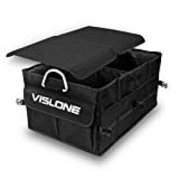 VISLONE Organizador Maletero Coche, Organizador Coche Plegable Impermeable con Compartimentos, Multifunción Oxford Bolsillos de Tela 60L Gran Capacidad Caja de Almacenamiento