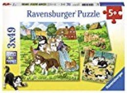 Süße Katzen und Hunde. Puzzle 3 x 49 Teile