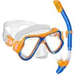 OMORC - Máscara de buceo con tubo de buceo para niños, antivaho con lente templada panorámica, resistente a los golpes, antifugas, respiración libre, para niños y niñas de 5 a 12 años