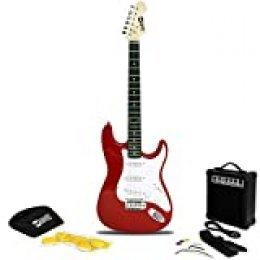 RockJam Superkit de guitarra eléctrica de tamaño completo con amplificador de guitarra, Cuerdas, Correa,  Bolsa y cable de guitarra, color Rojo
