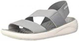 Crocs Literide Stretch Sandal Women, Sandalias de Punta Descubierta para Mujer, Gris (Light Grey/White 00j), 41/42 EU