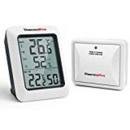 ThermoPro TP60S Termómetro Higrometro Digital para Interior y Exterior, Medidor Inalámbrico de Temperatura y Humedad con Sensor Remoto, Tendencia Máxima/Mínima, para Habitación, Oficina, Invernadero