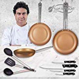 San Ignacio Copper Plus Set 3 sartenes + 4 Cuchillos + 3 Utensilios, Aluminio Prensado