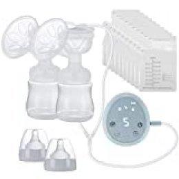 HALOVIE Sacaleches Eléctrico Bilateral Extractor de Leche Bomba de Lactancia 3 Modos y 9 Niveles sin BPA Pantalla Táctil LED Recargable USB Función de Memoria Masaje con 10 Bolsas Leche Materna