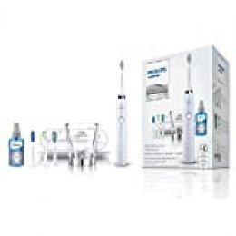 Philips Sonicare cepillo de dientes eléctrico DiamondClean HX9398/20 - Cepillo de dientes eléctrico con 5 modos, 3 cabezales, 1 cepillo lingual, cargador de cristal, y funda de viaje