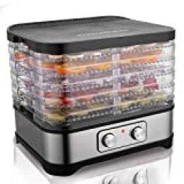 Hopekings Deshidratador Alimentos 5 Pisos, Deshidratadora de Frutas y Verduras 250W, Termostato ajustable 35-70 ° C, Negro