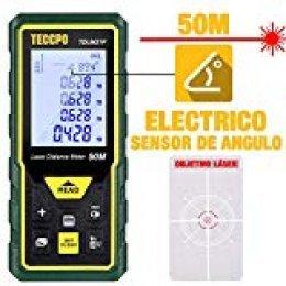 Telémetro láser 50m, TECCPO Medidor láser con Sensor de ángulo electrónico, m/in/ft/ft+in, Función de silencio, 30 Almacenamiento de Datos, Distancia, área, volumen de Pythagore, ángulo, IP54, TDLM21P