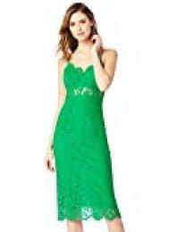 Marca Amazon - TRUTH & FABLE Vestido Midi de Encaje Mujer, Verde (Green), 34, Label: XXS