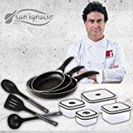 San Ignacio Navy Black Set de 3 sartenes + 4 recipientes herméticos + 3 Utensilios de Cocina, Aluminio Prensado, Negro