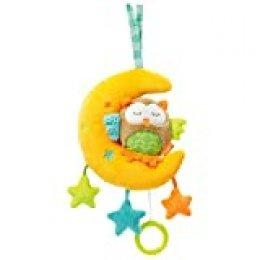 Fehn - Juguete de peluche con mecanismo de juego integrado con suave melodía para colgar en cochecito, capazo o cama, para bebés y niños pequeños a partir de 0 meses amarillo Eule, Sleeping Forest