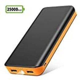 Bateria Externa para Movil, Power Bank 25000mAh, Cargador Port¨¢til de Ultra Alta Capacidad con 2 Salidas USB, 1 Linterna y 4 Indicadores LED para iPhone Huawei Xiaomi, Movil y Tablet de iOS y Android