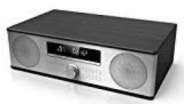 Sharp XL-B710(BK) All In One Sound System con Radio Fm, Bluetooth 4.2, Cd-Mp3, Reproducción Usb. Carcasa de Madera y Frontal de Acero Inoxidable Cepillado. 90W de Potencia, Color Negro