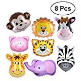 YeahiBaby Globo de la hoja animal de 8pcs Globos de helio de Mylar decoración del partido de la fiesta de bienvenida al bebé del cumpleaños
