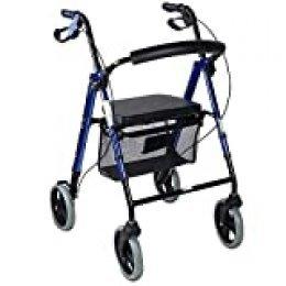 Mobiclinic, Modelo Hércules, Rollator para ancianos y minusválidos, andador para mayores, de aluminio, ligero, cesta, frenos en los puños, plegable, con asiento y 4 ruedas, azul