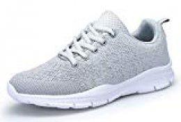 DAFENP Zapatillas Hombres Mujer Deporte Running Zapatos para Gimnasio Sneakers Deportivas Transpirables Casual Unisex 36-46 (46 EU, Gris)