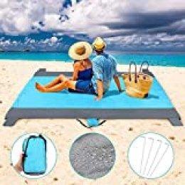 Haofy Alfombras de Playa, Manta de Picnic Impermeable, Alfombra de Picnic de Nylon para Viajes, Campamentos, Caminatas y Festivales de MúSica, Color Azul