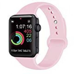 AK Compatible con para Apple Watch Correa 42mm 38mm 44mm 40mm, Silicona Blanda Deporte de Reemplazo Correas Compatible con para iWatch Series 4, Series 3, Series 2, Series 1 (08 Pink, 42/44mm S/M)