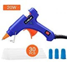 TOPELEK Mini Pistola de Silicona Caliente, con 30 PCS Barras Pegamento Alta Temperatura, 3 PCS Protectores de dedos, Pistolas Encolar para Manualidades, Bricolaje Reparaciones (20 Vatios)
