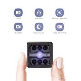 Mini Camara Espia Oculta Videocámara, CACAGOO 1080P HD Cámara Vigilancia Portátil Secreta Compacta con Detección de Movimiento IR Visión Nocturna Interior/Exterior