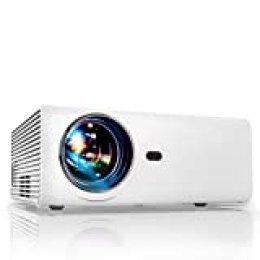 Proyector, YABER Mini Proyector Portátil Soporte Full HD 1080p Cine en Casa de 5500 Lúmenes y 50000 Horas con HiFi Altavoz Estereo, Compatible con iPad/iPhone/Android/TV Box/Fire Stick/Chromecast