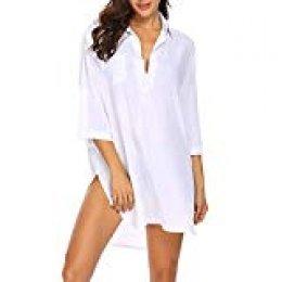 Camisa de Gasa de Playa Blusa de Manga Media Blusa Suelta de Manga Larga con protección Solar para Mujer Blusas y Camisas
