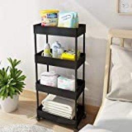 Bigzzia Carrito de almacenamiento, carrito de cocina para baño, estantería móvil delgada de 4 niveles con ruedas móviles multifunción, organizador con cesta de malla para oficina, biblioteca, lugares estrechos, negro