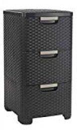 Curver 206313 - Cómoda  Style de 3 cajones, Patas, 14 L, Color Chocolate