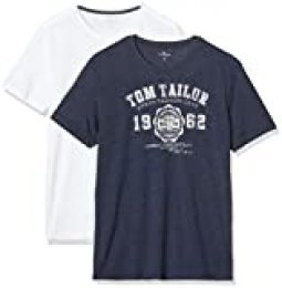 Tom Tailor Doppelpack Basic T-Shirt Camiseta (Pack de 2) para Hombre