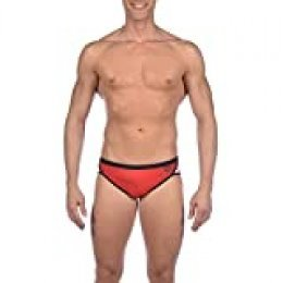 Arena M Brief Bañador Slip Hombre Team Stripe, Red-Black, 90