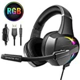 Beexcellent Cascos PS4, Auriculares con Micrófono Flexible, 50mm Driver Estéreo Envolventes, Orejeras Cómodas Iluminación RGB para PS4 Xbox One PC Tablet