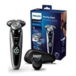 Philips Serie 9000 S9711/41 - Máquina de afeitar con cabezales de 8 direcciones, seco/húmedo y 3 modos, 60 min de batería incluye perfilador de barba con 5 posiciones y funda de viaje, plata