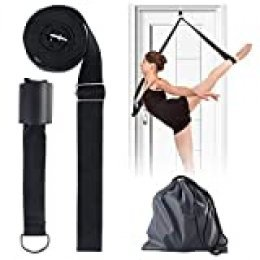 DERCLIVE Banda Elástica para Piernas Correa Elástica Ajustable Flexible con Anclaje para Puerta para Ballet Yoga Danza O Deporte Estiramiento de Piernas