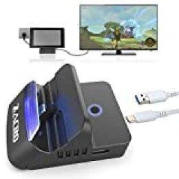 Zacro Switch Dock Base Portátiles,Bluetooth Audio,2K HDMI,Type-C a USB 3.0 y 2.0,Múltiples Ángulos,Refrigeración,Botón Interruptor Doble Modos Válido para Switch