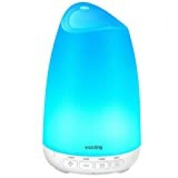 VicTsing 150ml Difusor de Aromas, Ultra Silencioso (21dB) Humidificador Aceites Esenciales, BPA-Free Difusor Aceites Esenciales, Difusor Aceites Esenciales Ultrasonico con LED de 8 Colores - Blanco