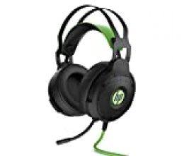 HP Pavilion 600 - Auriculares Gaming (Sonido 7.1 Surround, Almohadillas cómodas, iluminación LED Verde, micrófono con Brazo Ajustable) Negro y Verde