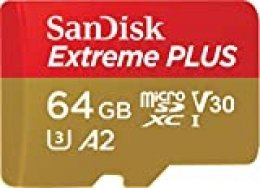 SanDisk Extreme PLUS - Tarjeta de memoria microSDXC de 64GB con adaptador SD, A2, hasta 170MB/s, Class 10, U3 y V30
