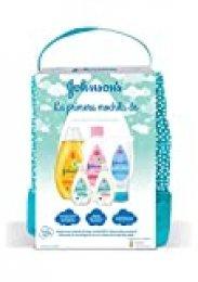Johnson's Baby Pack Bebe Mi Primera Mochila, Champu Clásico 300 ml, Aceite Corporal 300 ml, Crema Protectora de Pañal 100 ml, Loción 50 ml, Gel 50 ml