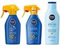 NIVEA SUN Spray Solar Niños FP50 + Protege & Hidrata Spray Solar FP50 +  After Sun Loción Hidratante