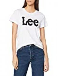 Lee Logo tee Camiseta, Blanco (White 12), Medium para Mujer
