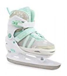 Sfr Skates Nova Adjustable Ice Skates Patines Patinaje Infantil, Juventud Unisex, Multicolor (White/Teal), 33-37
