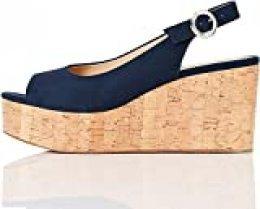 FIND Cork Peep Toe Sling Back Wedge Zapatos de tacón con Punta Abierta, Azul (Navy), 40 EU