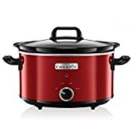 Crock-Pot SCV400RD-050 Olla de cocción lenta manual para preparar multitud de recetas, 210 W, 3.5 litros, Acero Inoxidable, Rojo