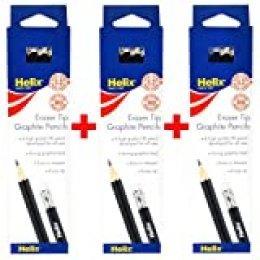 Helix HB - Lápices hexagonales de grafito con punta de goma de borrar (36 unidades)